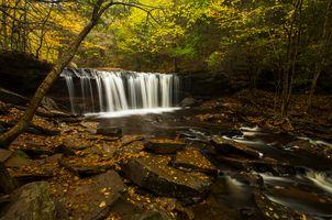 Заставки осень, водопад, камни