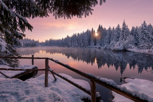 Зимний восход солнца в Швейцарии · бесплатное фото