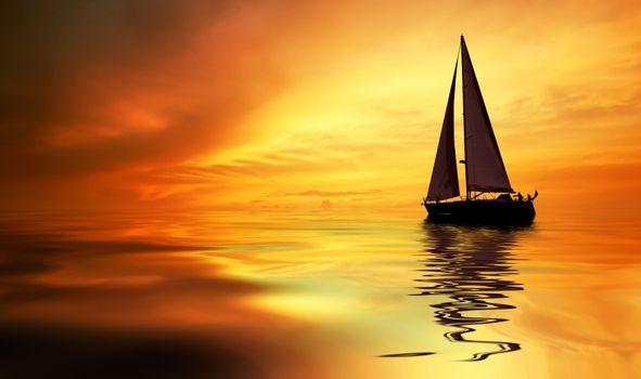 Заставки лодка, облака, земля