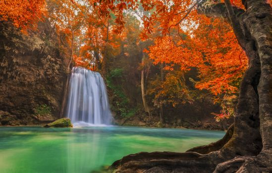 Photo free Erawan Waterfall in Kanchanaburi, Thailand, fall