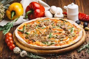 Пицца, перец и грибы · бесплатное фото