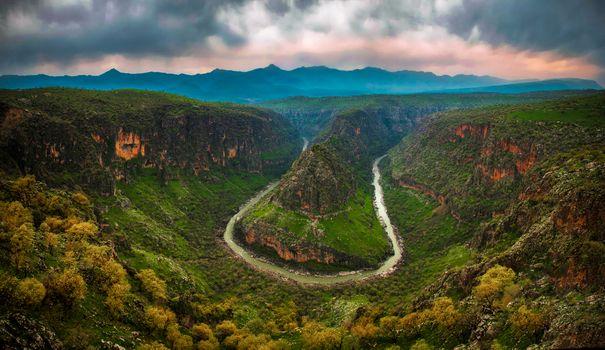 Заставки долина, дождь, закат солнца