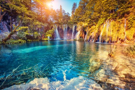 Обои Плитвицкие озера,Хорватия,водопад,деревья,дорожки,Плитвицкие водопады,пейзаж,Национальный парк Плитвицкие озера в Хорватии