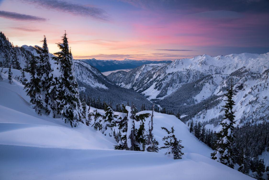 Обои Снег, горы, Тихоокеанский Северо-Запад, Восход закат, Вашингтон, зима, снег, деревья, пейзаж на телефон | картинки пейзажи