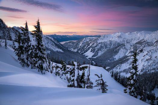 Заставки Снег,горы,Тихоокеанский Северо-Запад,Восход закат,Вашингтон,зима,снег,деревья,пейзаж