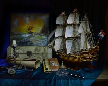 Photo free still life, sailboat, compass