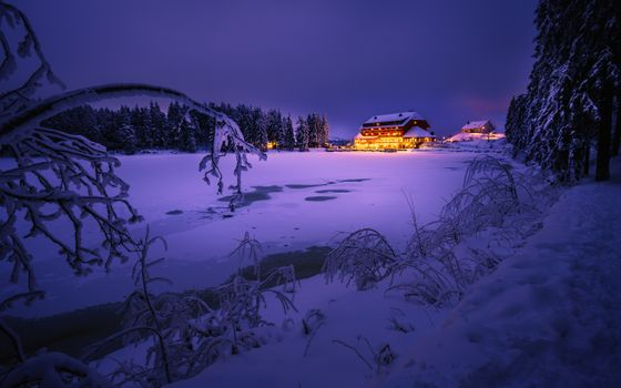 Photo free Mummelsee at dusk, black forest, Germany
