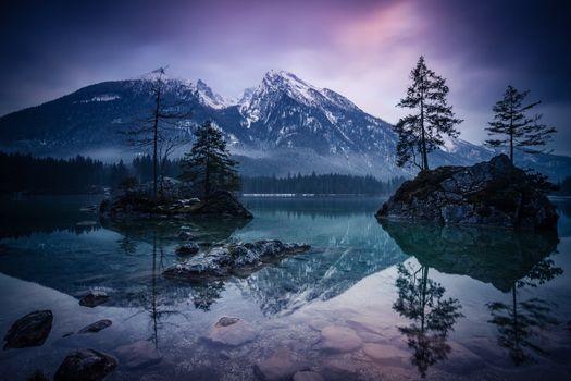 Фото бесплатно Hintersee, Bavaria, Южная Германия, Германия, закат, золотой час, озеро, сумерки, горы, деревья, отражение, пейзаж