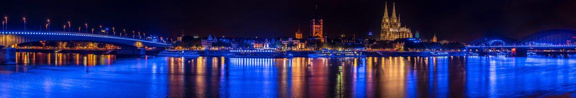 Фото бесплатно Кёльн, Германия, панорама, город, ночь, иллюминация, ночные города