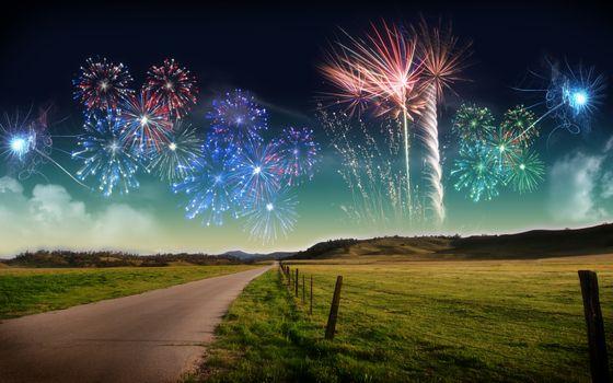 Фото бесплатно фейерверки, ночная сказка, красота на горизонте