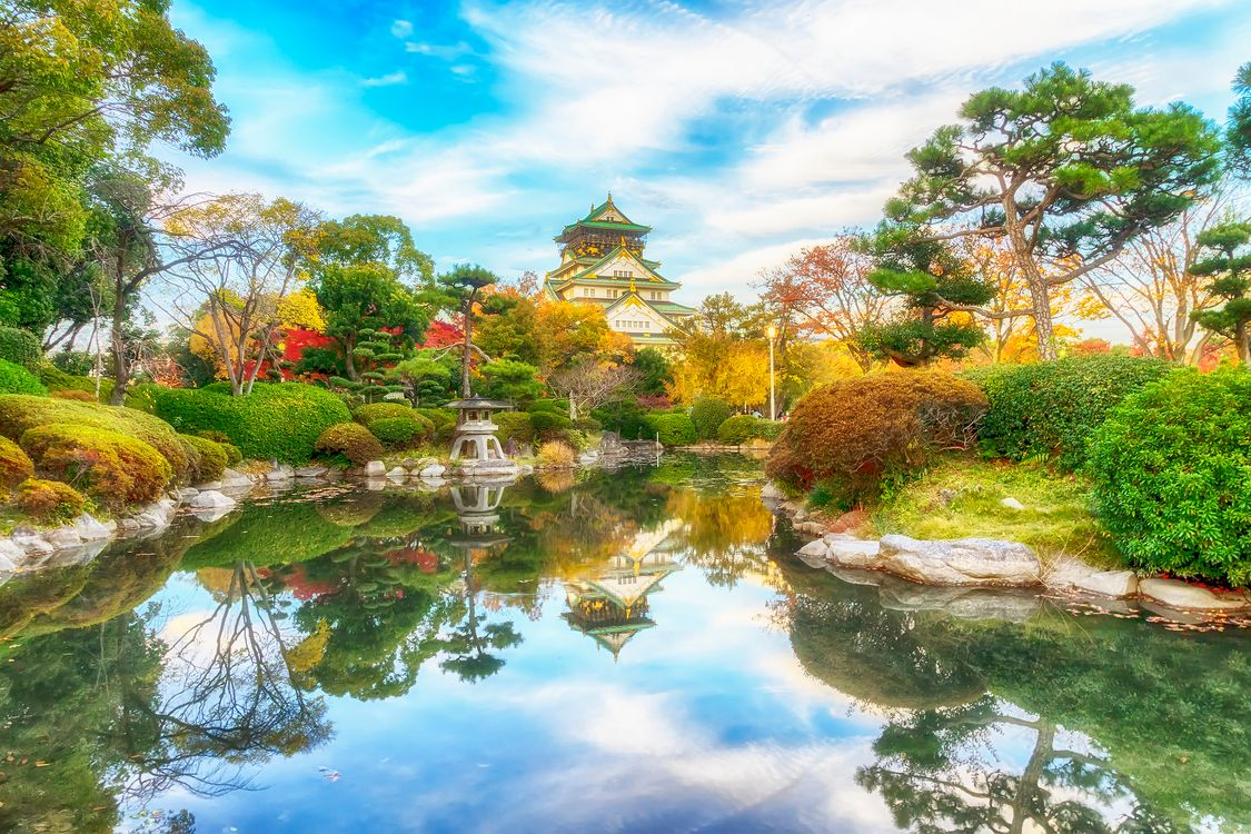 Обои Япония, Осака, парк, пагода, пруд, водоём, осень картинки на телефон