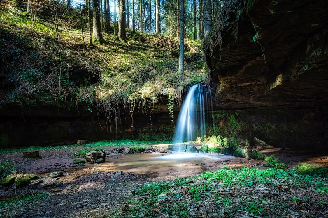 Фото бесплатно лес, водопад, лето, рассвет, лучи солнца, деревья, природа, пейзаж, природа