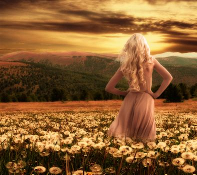 Фото бесплатно закат, поле, одуванчики, девушка, блондинка, красотка, фотошоп, art