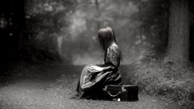 Фото бесплатно одиночество, лесная тропа, черно-белое