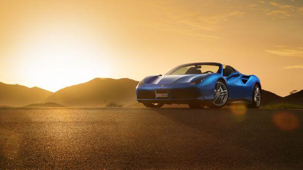 Фото бесплатно Феррари 488 Спайдер, синий, пустыня