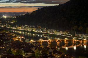 Бесплатные фото Гейдельберг,Германия,Heidelberg,город,ночь,иллюминация,ночные города