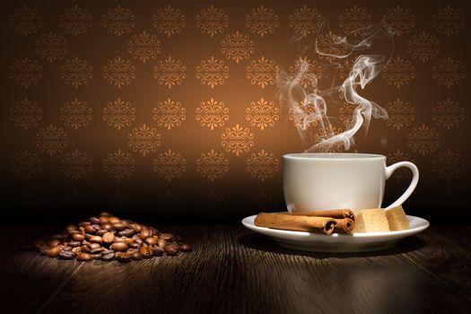 Кофе на фоне обоев
