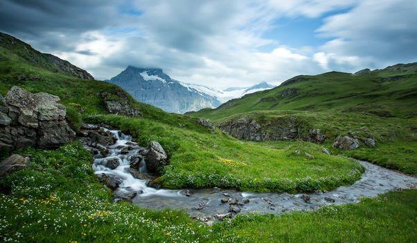 Фото бесплатно холмы, пейзаж, река