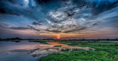 Заставки пруд, озеро, небо облака