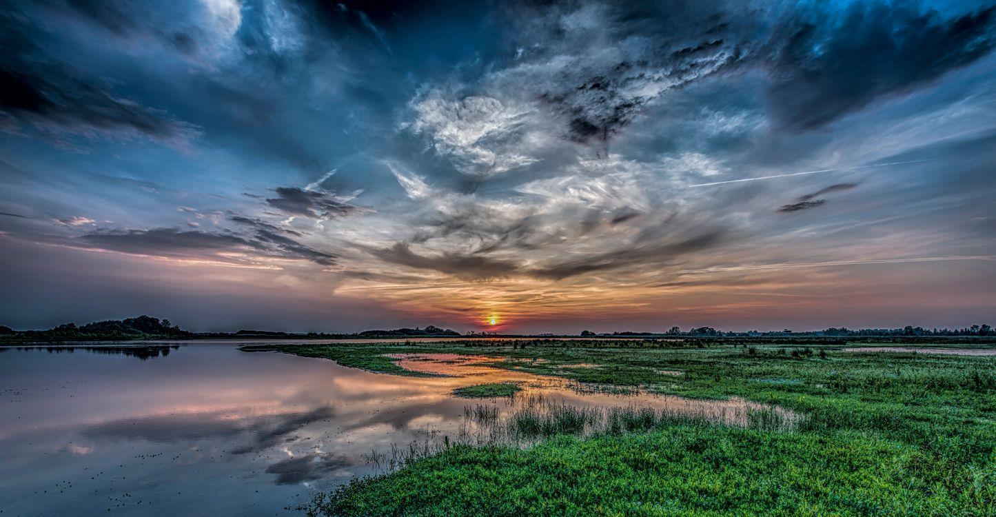 Фото бесплатно пруд, озеро, небо облака - на рабочий стол
