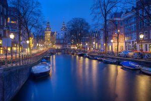 Фото бесплатно амстердам, ночь, каналы