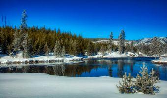 Бесплатные фото национальный парк йеллоустоун,вайоминг,америка,зима,снег,река,размышления