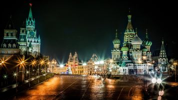 Бесплатные фото Москва,Кремль,Красная площадь,Собор Василия Блаженного,Россия,ночь,огни