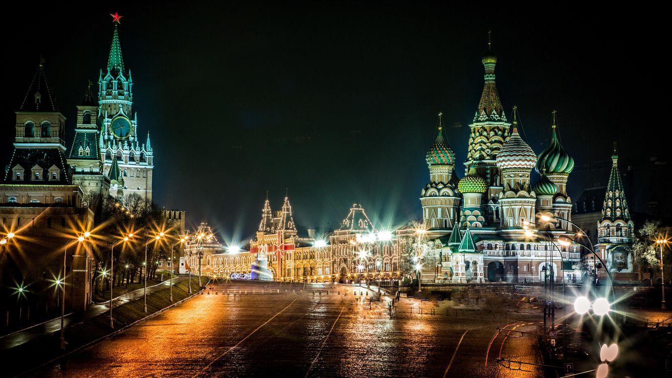 Фото бесплатно Москва, Кремль, Красная площадь, Собор Василия Блаженного, Россия, ночь, огни, иллюминация, ночные города, город