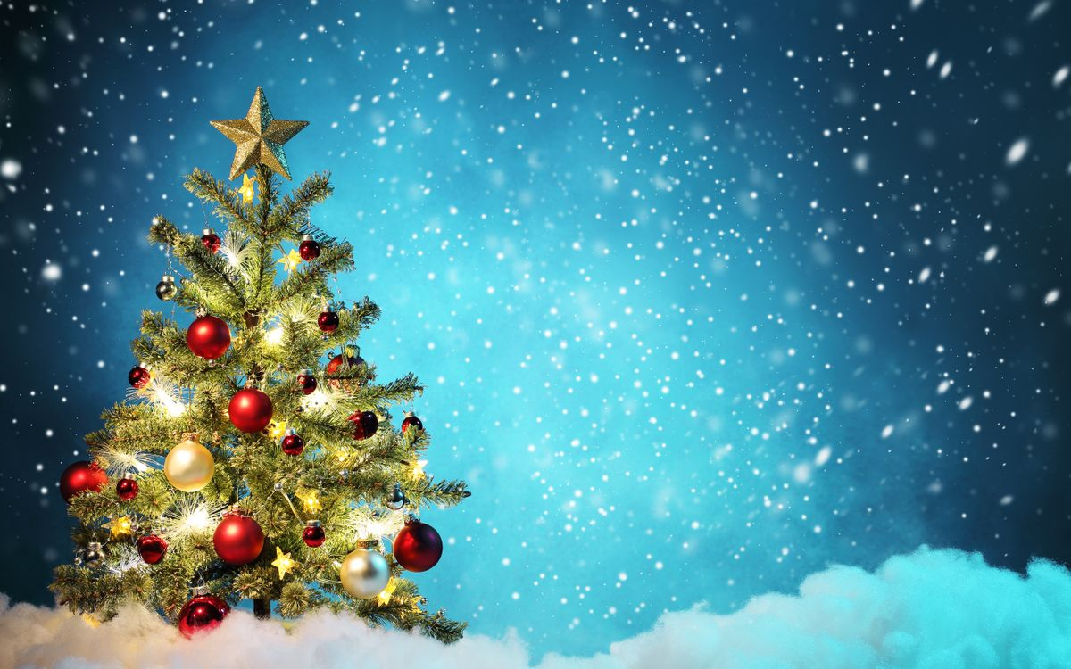 Обои Рождество, новогодняя елочка, снег картинки на телефон