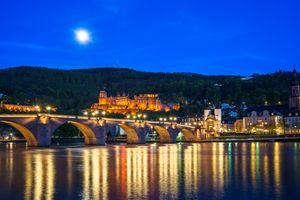 Photo free Heidelberg castle, night city, Heidelberg