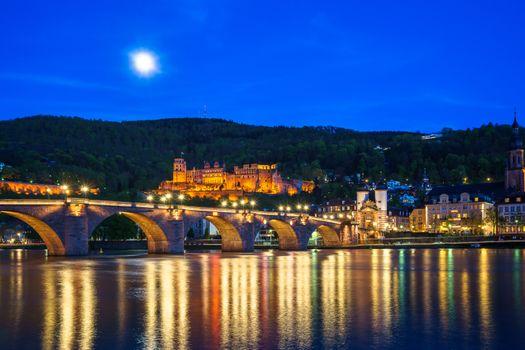 Фото бесплатно Гейдельбергский замок, ночной город, Гейдельберг