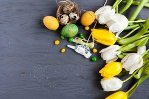 Бесплатные фото праздник,Пасха,букет,тюльпаны,декор