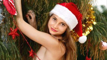 Бесплатные фото Аня,Рождество,улыбка,красные губы,Ирина buromskih