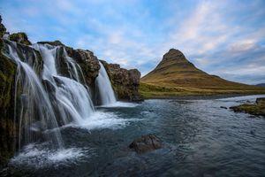 Фото бесплатно Киркюфелль, Исландия, водопад