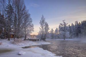 Бесплатные фото Langinkoski,Котка,Финляндия,зима,река,закат,домик
