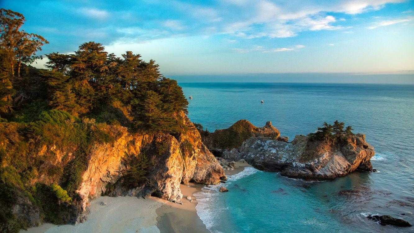 Обои море, Калифорния, Парк Julia Pfeiffer Bern картинки на телефон
