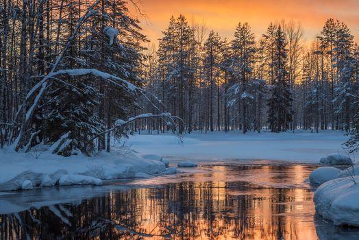 Заставки река, закат, Kansallispuisto
