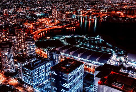 Бесплатные фото Yokohama,Япония,ночные города