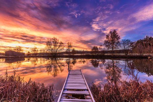 Photo free pier, landscape, sunset